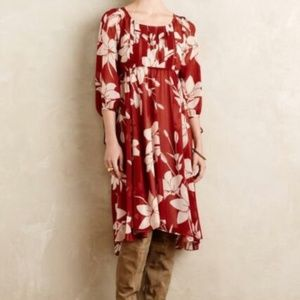 Anthropologie Maeve Lily Chiffon Dress in Rust